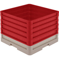 Vollrath CR1AAAAA-32802 Traex® Full-Size Beige 13 1/2 inch Open Rack with Closed Sides and 5 Red Extenders