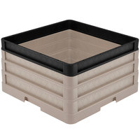 Vollrath CR1AAA-32906 Traex® Full-Size Beige 9 1/2 inch Open Rack with Closed Sides - 2 Beige Extenders, 1 Black Extender