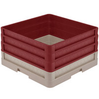 Vollrath CR1AAA-32821 Traex® Full-Size Beige 9 1/2 inch Open Rack with Closed Sides and 3 Burgundy Extenders