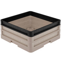 Vollrath CR1AA-32906 Traex® Full-Size Beige 7 1/2 inch Open Rack with Closed Sides - 1 Beige Extender, 1 Black Extender