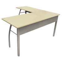 Linea Italia TR737OAT Trento Oatmeal / Gray L-Shaped Desk - 59 1/8 inch x 59 1/8 inch x 29 1/2 inch