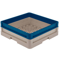 Vollrath CR1A-32944 Traex® Full-Size Beige 5 1/2 inch Open Rack with Closed Sides and 1 Royal Blue Extender