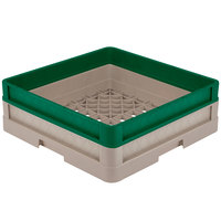 Vollrath CR1A-32919 Traex® Full-Size Beige 5 1/2 inch Open Rack with Closed Sides and 1 Green Extender
