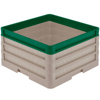 Vollrath CR1AAA-32919 Traex® Full-Size Beige 9 1/2 inch Open Rack with Closed Sides - 2 Beige Extenders, 1 Green Extender