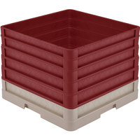Vollrath CR1AAAAA-32821 Traex® Full-Size Beige 13 1/2 inch Open Rack with Closed Sides and 5 Burgundy Extenders