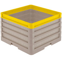 Vollrath CR1AAAA-32908 Traex® Full-Size Beige 11 1/2 inch Open Rack with Closed Sides - 3 Beige Extenders, 1 Yellow Extender