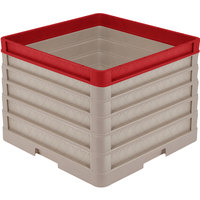 Vollrath CR1AAAAA-32902 Traex® Full-Size Beige 13 1/2 inch Open Rack with Closed Sides - 4 Beige Extenders, 1 Red Extender