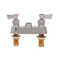 Fisher 2500 Deck Mounted 1/2 inch Brass Faucet Base with 4 inch Centers, Swivel Stems, Rigid Outlet, and Lever Handles