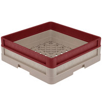 Vollrath CR1A-32921 Traex® Full-Size Beige 5 1/2 inch Open Rack with Closed Sides and 1 Burgundy Extender