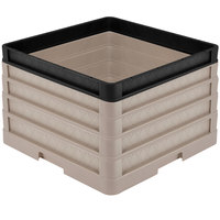 Vollrath CR1AAAA-32906 Traex® Full-Size Beige 11 1/2 inch Open Rack with Closed Sides - 3 Beige Extenders, 1 Black Extender