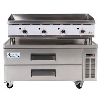Cooking Performance Group 48GTRBNL 48 inch Gas Countertop Griddle with Thermostatic Controls and 2 Drawer Refrigerated Chef Base - 120,000 BTU