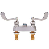 Fisher 56332 Deck Mounted 1/2 inch Brass Faucet Base with 4 inch Centers, Check Stems, Swivel Outlet, and Wrist Handles