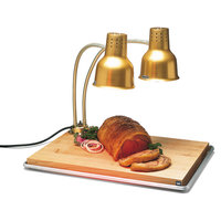 Carlisle HL8285GB21 FlexiGlow 24 inch Dual Arm Aluminum Heat Lamp with Gold Finish, Maple Cutting Board, and Drip Pan - 120V
