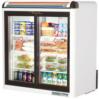 True GDM-9-SQ-HC-LD White Countertop Display Refrigerator with Sliding Doors