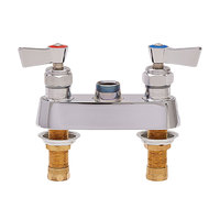 Fisher 3500 Deck Mounted 1/2 inch Brass Faucet Base with 4 inch Centers, Swivel Stems, Swivel Outlet, and Lever Handles