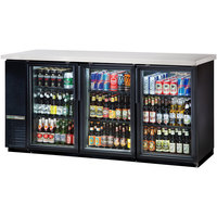 True TBB-24-72G-HC-LD 73 inch Black Glass Door Narrow Back Bar Refrigerator with LED Lighting