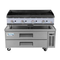Cooking Performance Group 48CRRBNL 48 inch Gas Radiant Charbroiler with 2 Drawer Refrigerated Chef Base - 160,000 BTU