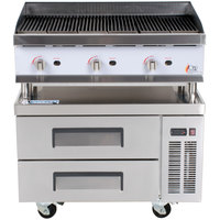 Cooking Performance Group 36CLRBNL 36 inch Gas Lava Rock Charbroiler with 2 Drawer Refrigerated Chef Base - 120,000 BTU