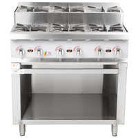 Cooking Performance Group 36CPG4SNL 36 inch Gas Countertop Step-Up Range with Storage Base - 180,000 BTU