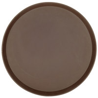 Cambro 1600TL138 Treadlite™ 16 inch Round Brown Non-Skid Fiberglass Serving Tray