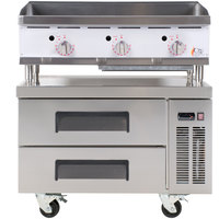 Cooking Performance Group 36GTRBNL 36 inch Heavy-Duty Gas Countertop Griddle with Thermostatic Controls and 2 Drawer Refrigerated Chef Base - 90,000 BTU