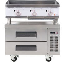 Cooking Performance Group 36GTRBNL 36 inch Gas Countertop Griddle with Thermostatic Controls and 2 Drawer Refrigerated Chef Base - 90,000 BTU