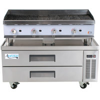 Cooking Performance Group 48CLRBNL 48 inch Gas Lava Rock Charbroiler with 2 Drawer Refrigerated Chef Base - 160,000 BTU