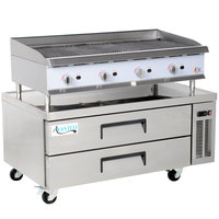 Cooking Performance Group 48CBLRBNL 48 inch Gas Lava Briquette Charbroiler with 2 Drawer Refrigerated Chef Base - 160,000 BTU