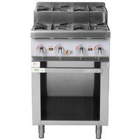 Cooking Performance Group 24CPG4SNL 24 inch Gas Countertop Step-Up Range with Storage Base - 120,000 BTU