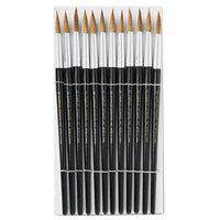 Charles Leonard 73512 Black Size 12 Round Camel Hair Bristle Paint Brush - 12/Pack
