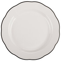CAC SC-9B Seville 9 5/8 inch Ivory (American White) Scalloped Edge China Plate with Black Band - 24/Case