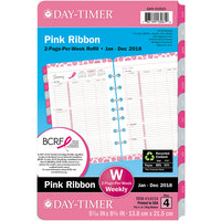 Day-Timer 14210 Pink Ribbon 5 1/2 inch x 8 1/2 inch Two-Pages-Per-Week 2019 Organizer Refill