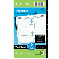 Day-Timer 10801 3 3/4 inch x 6 3/4 inch Reference Dated Two-Page-Per-Day 2020 Organizer Refill
