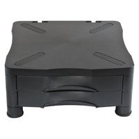 Kelly 10369 Black 13 inch x 13 1/2 inch x 5 3/4 inch Adjustable Monitor Stand with Double Storage Drawer