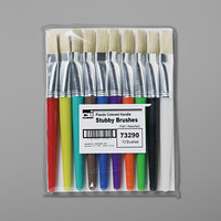 Charles Leonard 73290 10 Assorted Color Flat Natural Bristle Stubby Paint Brushes
