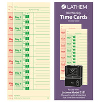 Lathem M2100 3 1/2 inch x 9 inch Two Sided Bi-Weekly / Weekly Universal Time Card - 100/Pack
