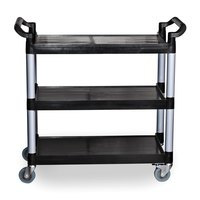 Three Shelf Utility Cart / Bus Cart - Black 40 1/8 inch x 19 3/4 inch x 37 7/8 inch