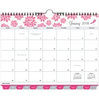 Day-Timer 11259 8 1/2 inch x 11 inch Pink Ribbon Tabbed 2019 Wall Calendar
