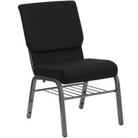 Black 18 1/2 inch Wide Church Chair with Communion Cup Book Rack - Silver Vein Frame