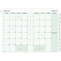 Day-Timer 87229 5 1/2 inch x 8 1/2 inch White / Green Monthly 2019 Planner Refill