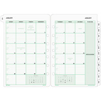 Day-Timer 87229 5 1/2 inch x 8 1/2 inch White / Green Monthly 2020 Planner Refill