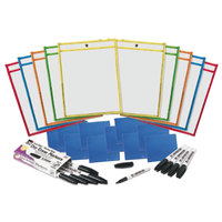 Charles Leonard 29130 Assorted Primary Color Dry Erase Pocket Class Pack