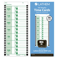 Lathem E8100 4 inch x 9 inch Weekly Time Card - 100/Pack