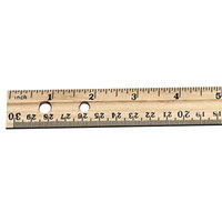 Charles Leonard 77120 12 inch Natural Economical Beveled Wood Ruler with Single Metal Edge - 36/Box