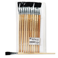Charles Leonard 73575 Natural Wood Size 18 Flat Natural Bristle Long-Handle Easel Paint Brush - 12/Pack