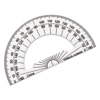 Charles Leonard 77104 4 inch Clear Plastic Open Center Protractor with Ruler Edge - 12/Pack