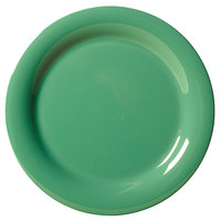 "GET NP-7-FG Diamond Mardi Gras 7 1/4"" Rainforest Green Narrow Rim Round Melamine Plate - 48/Case"