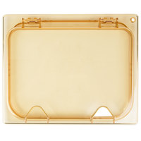 Carlisle 10439Z13 StorPlus EZ Access 1/2 Size Amber High Heat Hinged Lid with One Notch