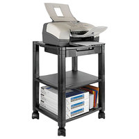 Kantek PS540 Black 3-Shelf Mobile Printer Stand - 17 inch x 13 1/4 inch x 24 1/2 inch