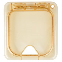 Carlisle 10519Z13 StorPlus EZ Access 1/6 Size Amber High Heat Hinged Lid with One Notch